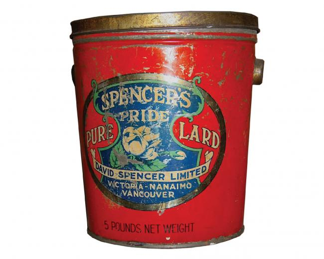 tin of lard Pender Islands Museum artifact